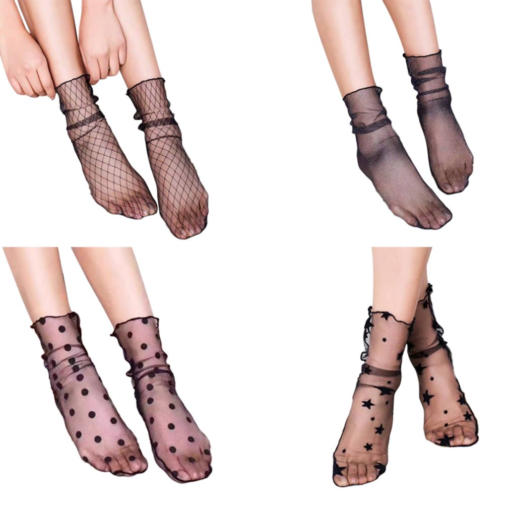 641ba477329 Get Quotations · BESTOYARD 4 Pairs Women Ankle High Socks Sheer Slouch Socks  Transparent Lace Socks