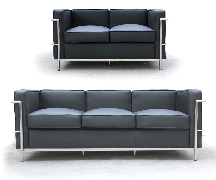 Home decor black leather furniture 3 2 1 sofa set designs buy 3 2 1 sofa so - Decoration le corbusier ...