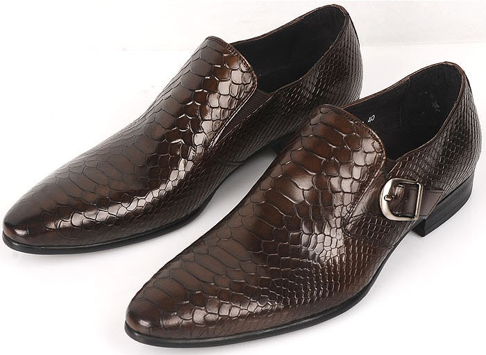mens round toe slip-on snake skin genuine leather luxury loafers men formal dress shoes size:6-11