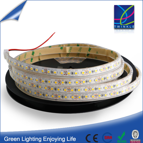 12V 3528 LED list Silikon tub 9.6W/m slingor strip, 5 meter, Varmvit