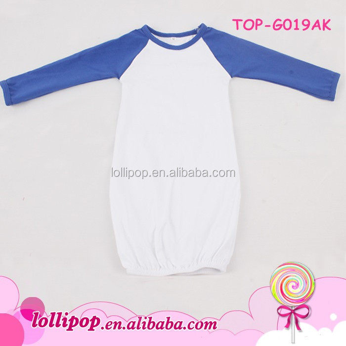 2018 Baby clothes royal blue sleeve cream body cotton boy evening jumper wholesale kids romper girl soft cute raglan infant gown