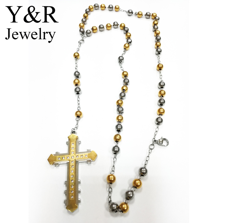Two Tone Stainless Steel Christian Rosary Beads Prayer Cross Chain Necklace