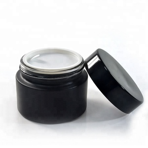 30ml 50ml glass cream jar black with Aluminium cap for Personal Care face cream