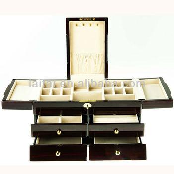 New Ebony Piano Paint Wooden Jewelry Box big Jewelry Case Tg503ec