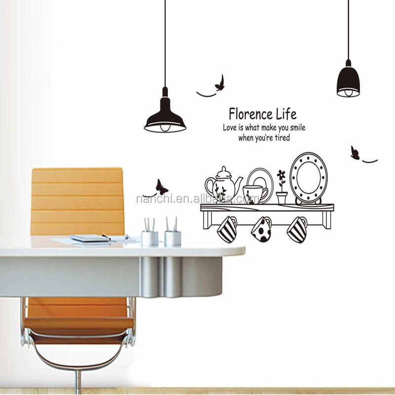 Modern Florence Hidup Hitam Putih Teh Set Stiker Dinding Pintu Masuk Sofa Dekorasi Dapur Panas Dan