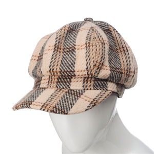 ee1ed3b2d28d8 Wholesale custom fashion solid winter tweed fabric Beret cap lattice  octagonal newsboy cap hat