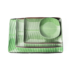 "The whole case wholesale 14"" x 10.1"" x 0.9"" Inch Villa Banana Leaf rectangular Melamine Plates Set Printed Design"