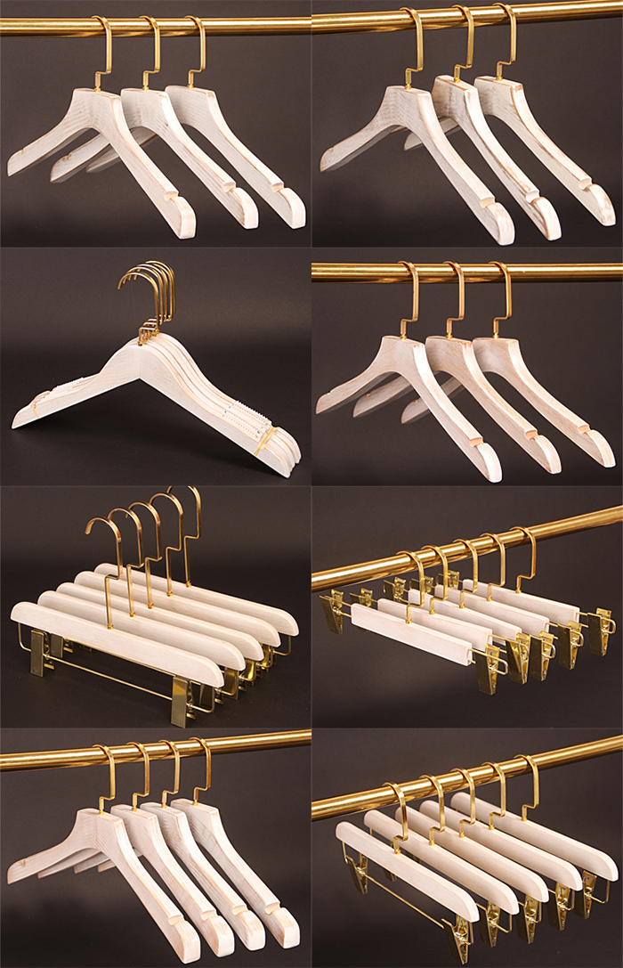Washed White Wooden Coat Hanger , Golden copper hook wood top wear shirt clothes hangers