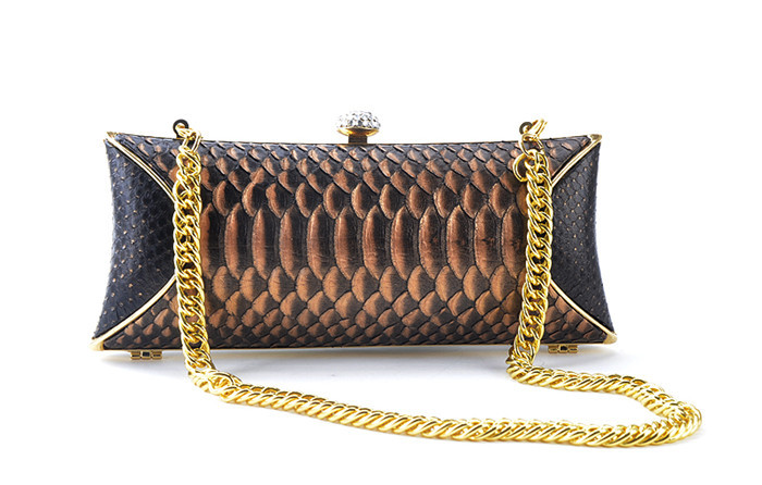 Luxury elegant real python snake skin women evening clutch bag