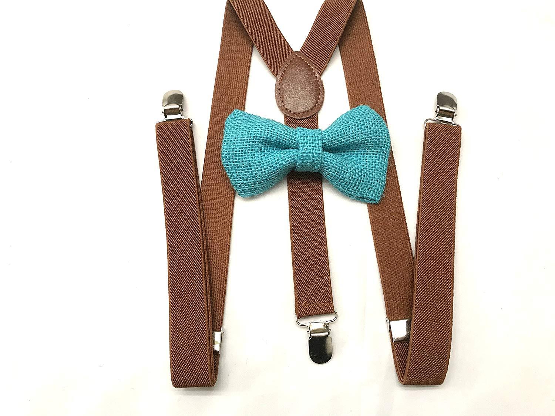 Chocolate Brown Burlap Barn Yard Bow Rustic Bowtie Adjustable Strap Wedding
