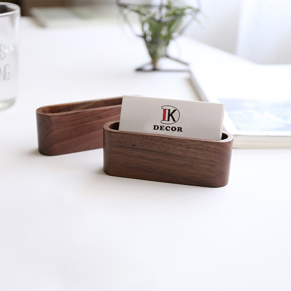 Mini Solid <strong>Wood</strong> Business Card Holder in good decoration