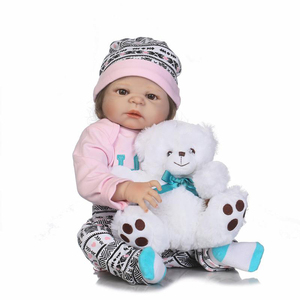 22inch best lifelike learning toy store play look real silicone reborn baby dolls