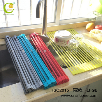 Stainless Steel Wire Rack Adjule Kitchen Sink Dish Over The Silicone Roll Up