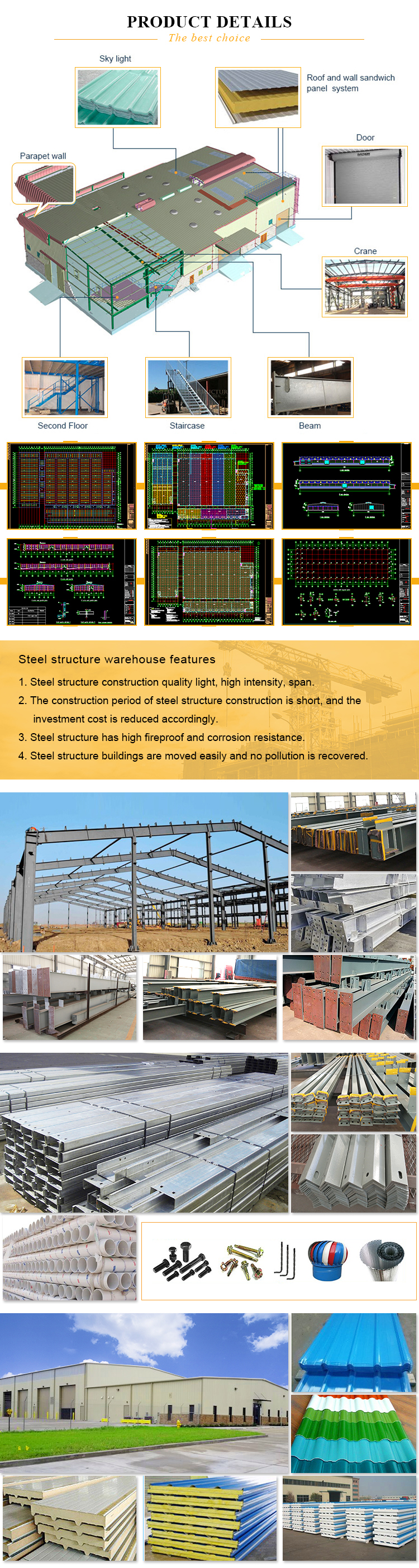Structural Steel Prefabricated Warehouse Sheds / Factory