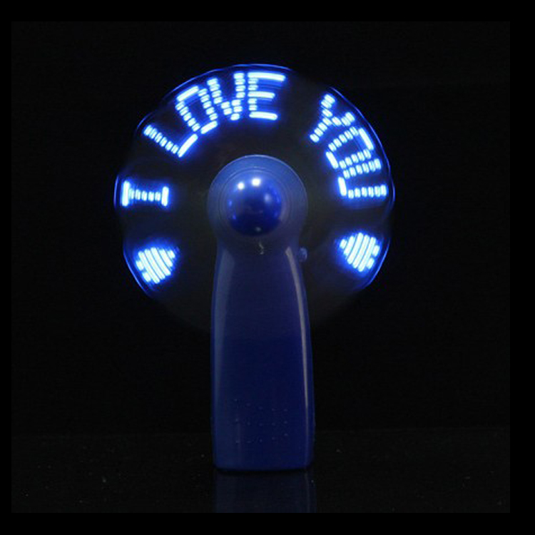 LED flashing light portable mini handheld small fan with words