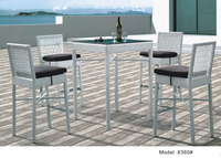 Rattan wicker pub table set with barstools 5 piece outdoor wicker patio furniture