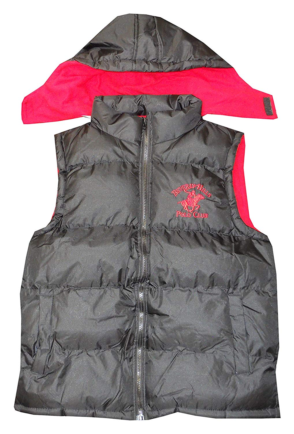 b1e24f337 Get Quotations · Beverly Hills Polo Club Men's Black & Red Vest With  Detachable Hoodie
