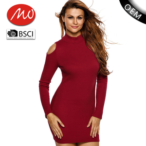 fashion popular tight red turtleneck womens sweater dress for wholesale