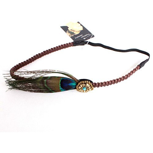 Braided Leather Feather Dangle Headband