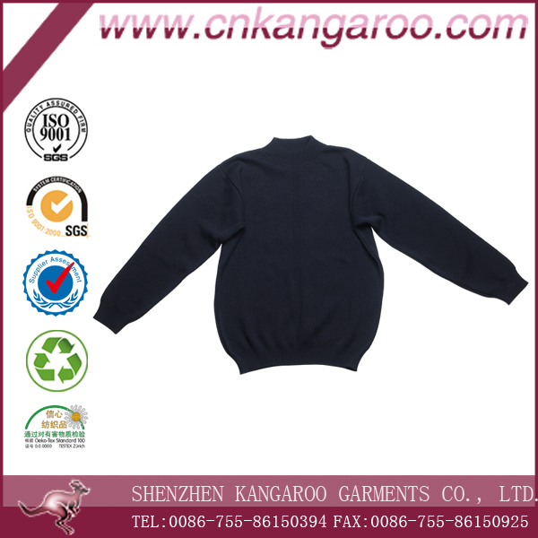 2016 Free Sample Customized Hand Knitted Navy Blue Sweater