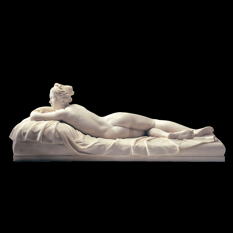 Modern stone figure statue lying nude woman marble sculpture