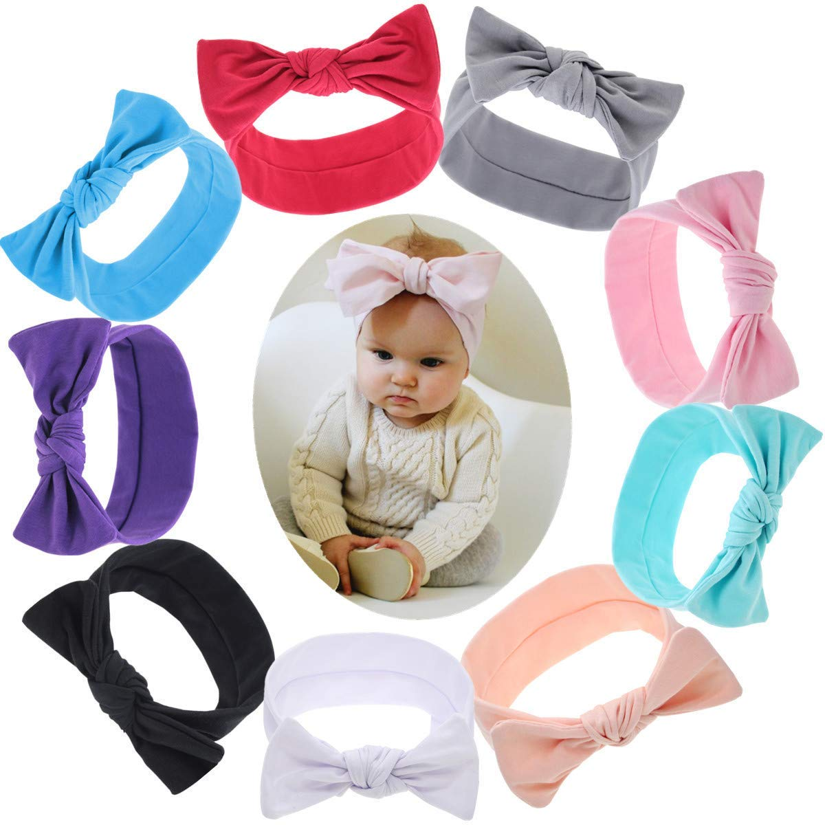 5f3050524 Get Quotations · Zhiheng 9PCS Baby Headbands Turban Knotted Girls Hairbands  for Newborn Toddler and Childrens