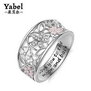 Family Friend Love Jewelry 925 Sterling Silver Cubic Zirconia Enamel Flower Promise Ring For Women