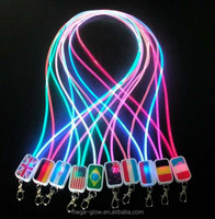 Led lights Lanyard with flag printing Novelty highly specialized LED Flashing Pendant Necklace promotional LED Flashing Necklace