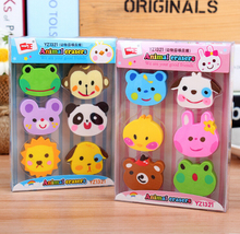 F22 1 Box 6pcs Kawaii Rubber Erasers Zoo Kid Gift School Supplies Student Stationery Correction