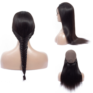 Glueless Brazilian Virgin Hair Wig Straight 4X4 Lace Wig Closure Human Hair with Baby Hair Long Lace Front Wigs for Black Women