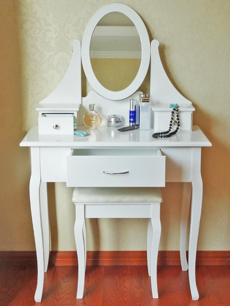 3 Drawers Antique Vanity Set Wood Make Up Dresser With