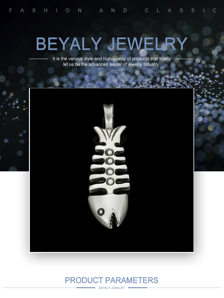 product-BEYALY-Unique Hot Selling Stainless Steel Wholesale Jewelry Necklace Fish Bone Pendant-img