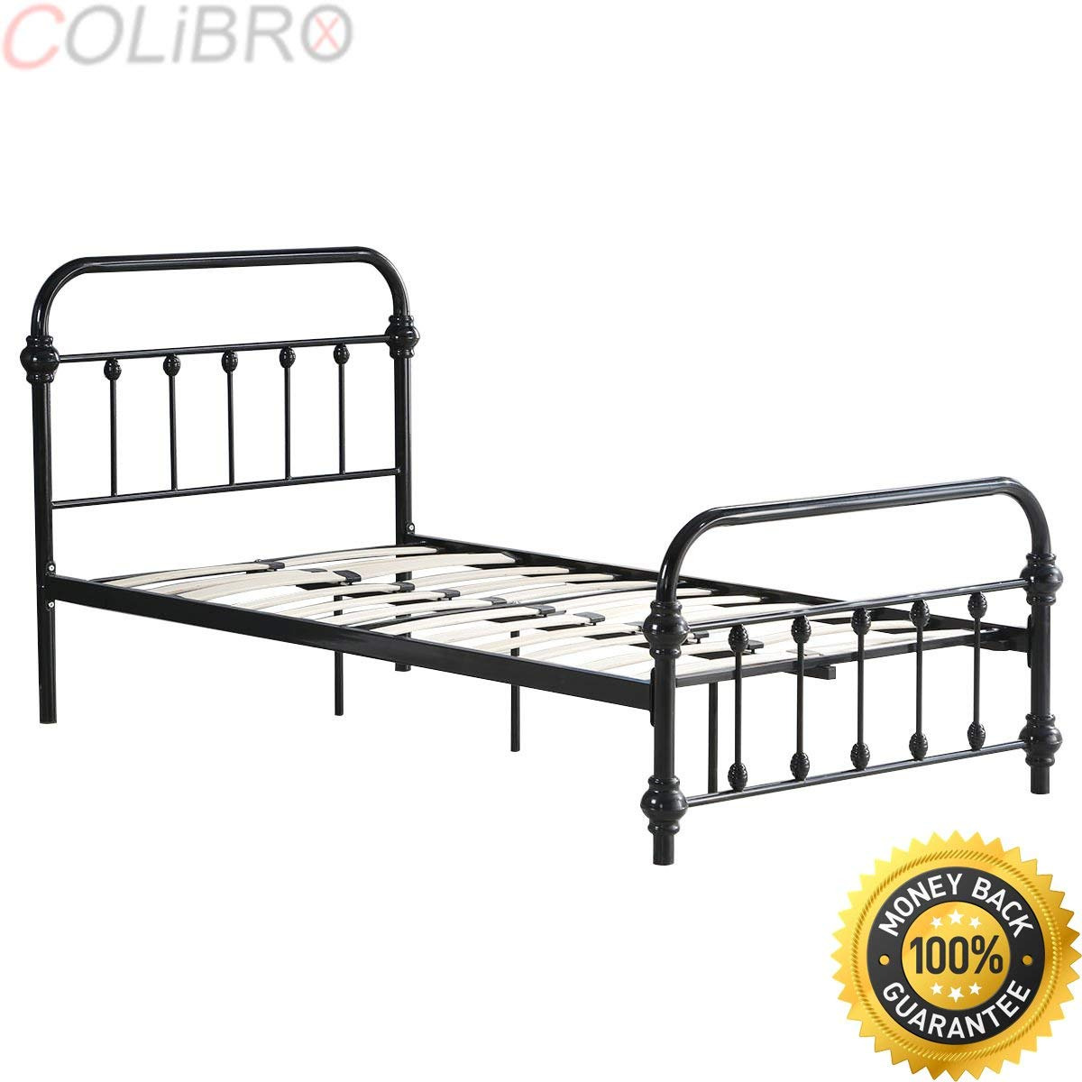 COLIBROX Twin Size Wood Slats Bed Frame Platform Support Headboard Footboard Furniture. adjustable bed frame for headboards and footboards queen. bed frame with headboard and footboard hooks.