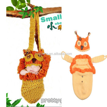 Novel Cute Hand Made Crochet Baby Hammock Sleeping Bag And Beanie