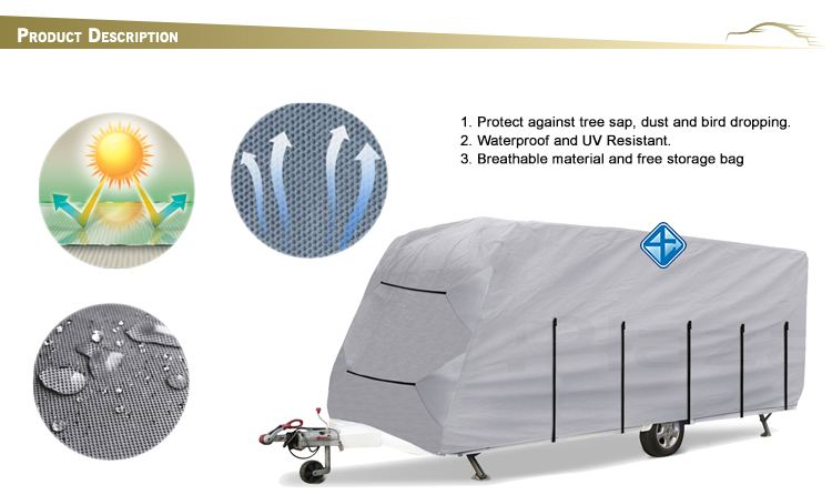 Fasted on roof waterproof caravan cover polyester car cover,sun protection car cover