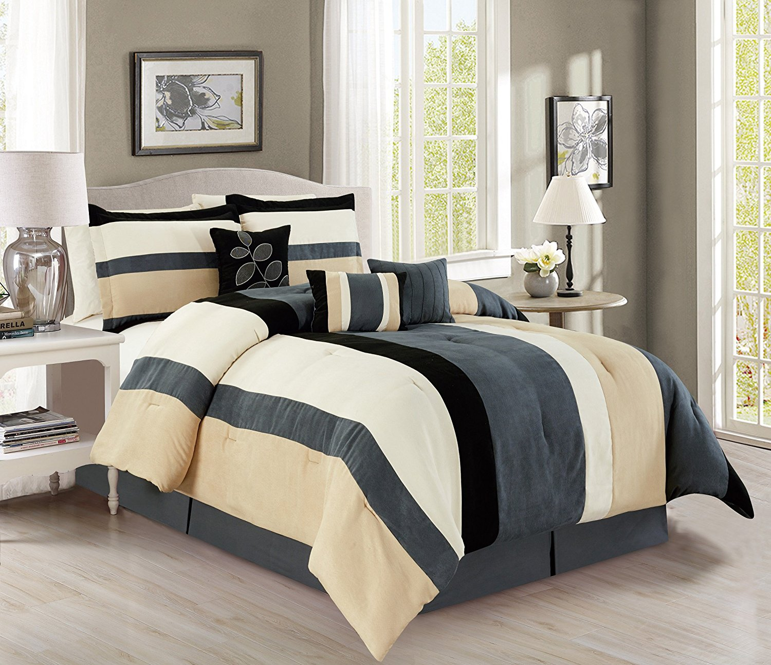 Buy Elegant 7 Piece Micro Suede Stripe California Cal King Bedding Grey Black Beige Comforter Set With Accent Pillows In Cheap Price On Alibaba Com