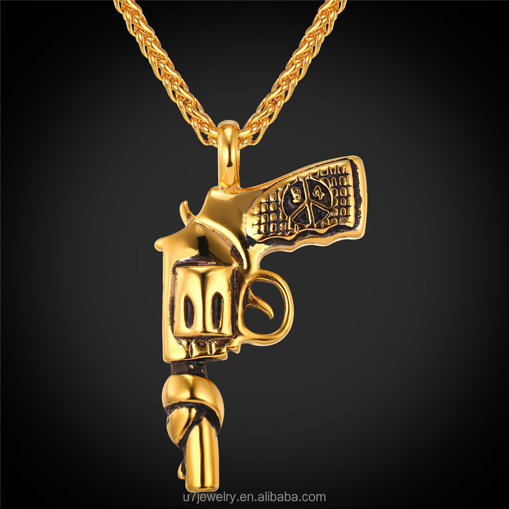 U7 American Style Hip Hop Chain Men Women Pendant Necklace 18K Gold Plated Stainless Steel Vintage Roscoe Gun Necklace