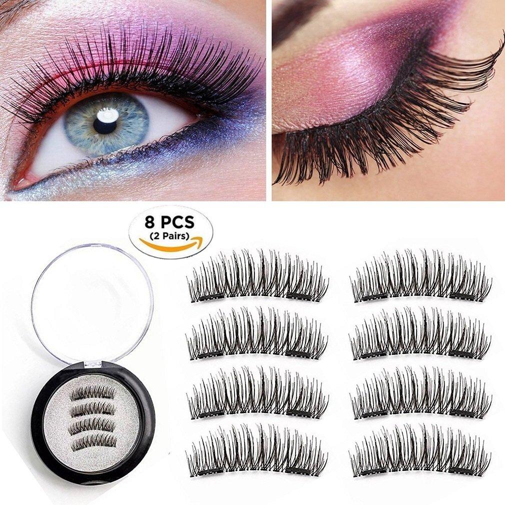 91c2dac8598 Get Quotations · Magnetic Eyelashes 2 Pairs Dual Magnetic False Eyelashes  No Glue 3D Reusable Fake Magnet Eyelashes 0.2