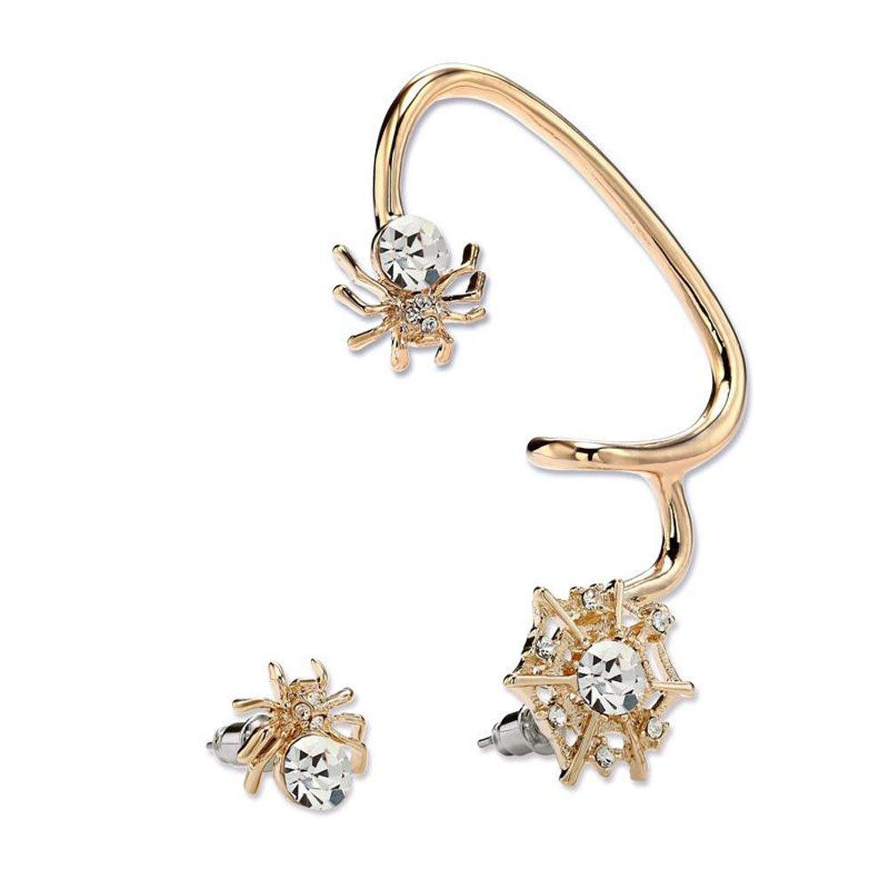 CIShop Unique Asymmetric sparkling Spider Diamond Earrings Stud Ear Wrap Cuff Earring Gothic Earcuff Punk Rock Earring (White)