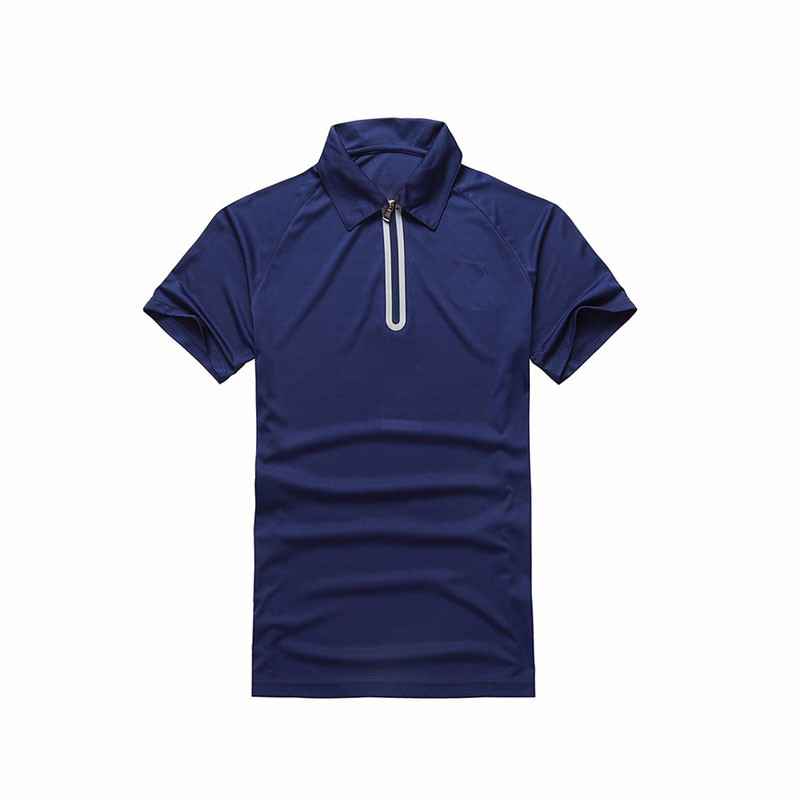 2019 New design Customized high Stretch Zip Running polo T-shirts for <strong>men</strong>