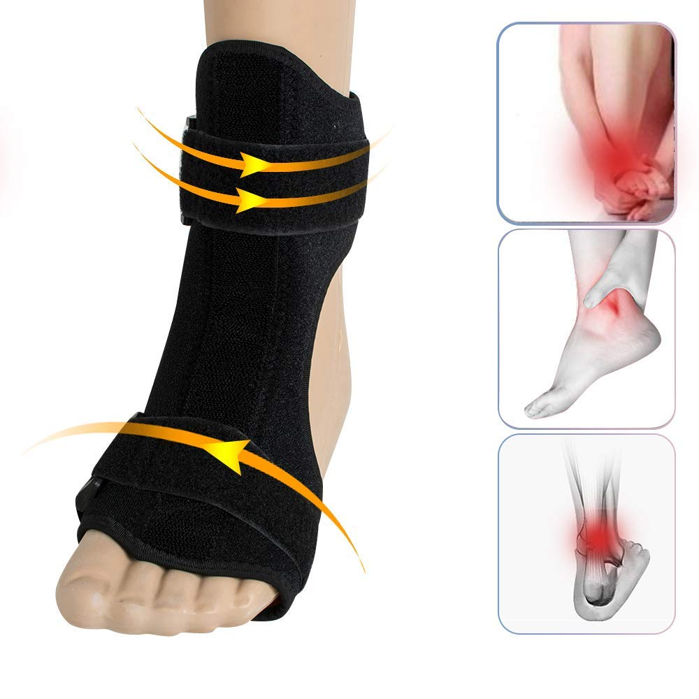 Foot Drop Brace Correction Ankle Corrector- Zinnor Foot Drop Brace Splint Orthotic Stretch Fits Right & Left Foot, Adjustable Instep Injury Support Women & Men, Heel Pain Relief Hemiplegia