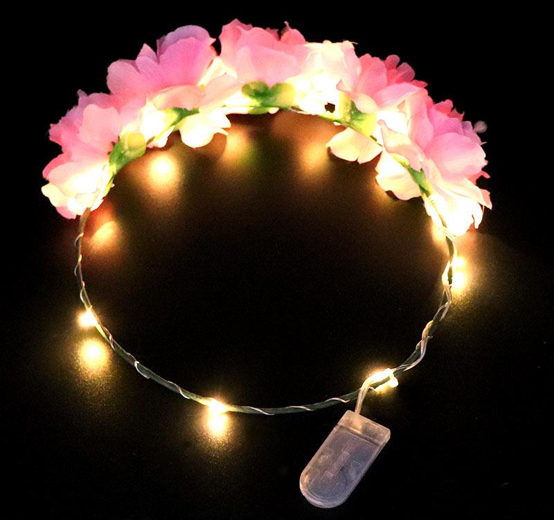 Tóc phụ kiện 2018 hot bán phát sáng cô gái vương miện hoa LED string ánh sáng hoa headband