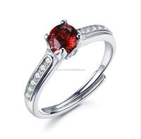 2017 Wedding and Engagement Designs Women Oval Red Garnet Stone Silver Fashion Ring