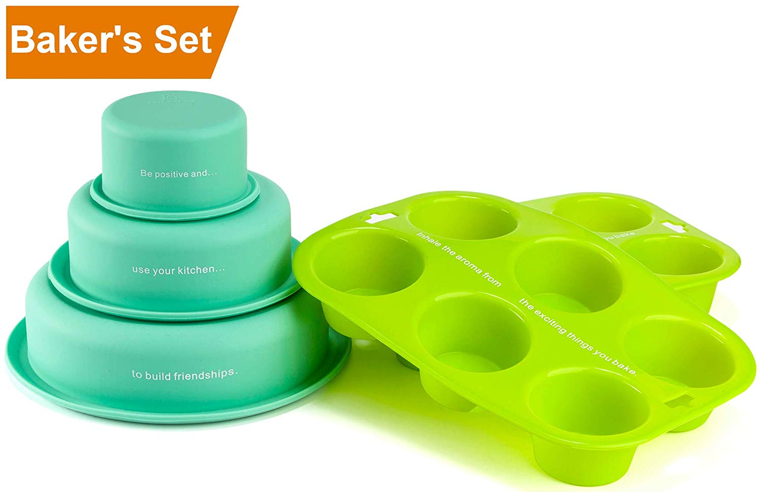 Silicone Round Cake Molds and Cup Cake Mold Set by LVKH (5 Piece Set)