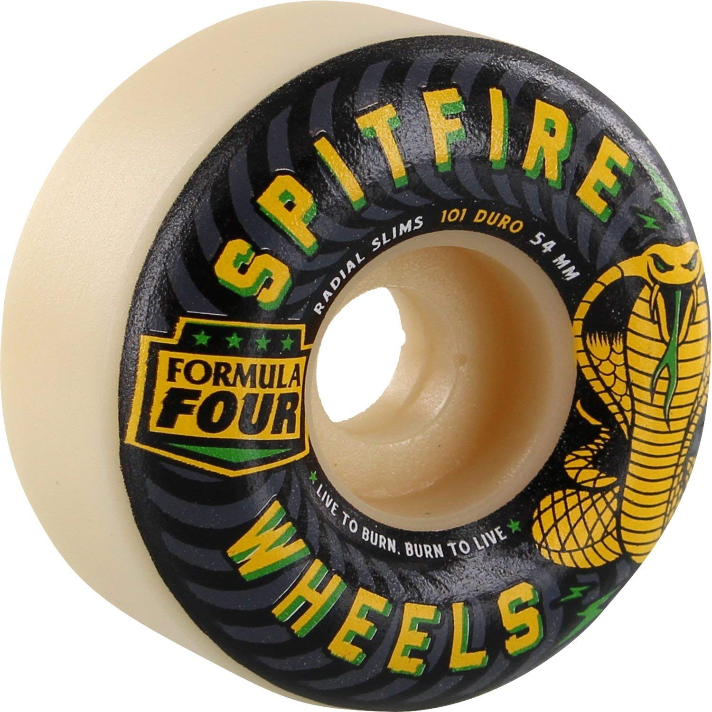 Spitfire F4 101a Radial Slim 54mm Speed Kills White Skateboard Wheels (Set of 4)