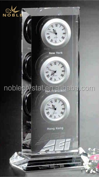 Custom Engraved Hight Quality Rectangle Block K9 Crystal Antique Desktop Clock World Time Zone Crysta Desk Clock.