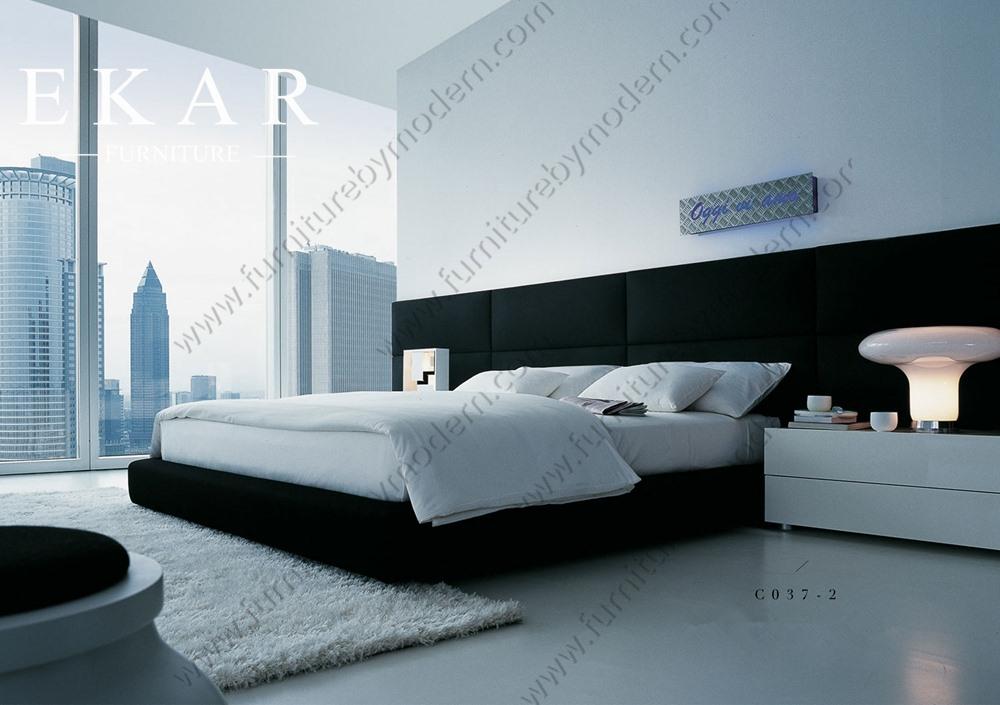 extico juego de dormitorio con cama de madera largo de cama doble o