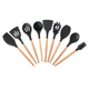 Non Stick Silicone Kitchen Tools Gadgets Silicone Kitchenware Cookware Set With Wood Handle