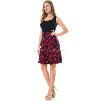 2921d1e89b744 European and American women's wear hot style round neck sleeveless printed  pocket dress vintage dress and