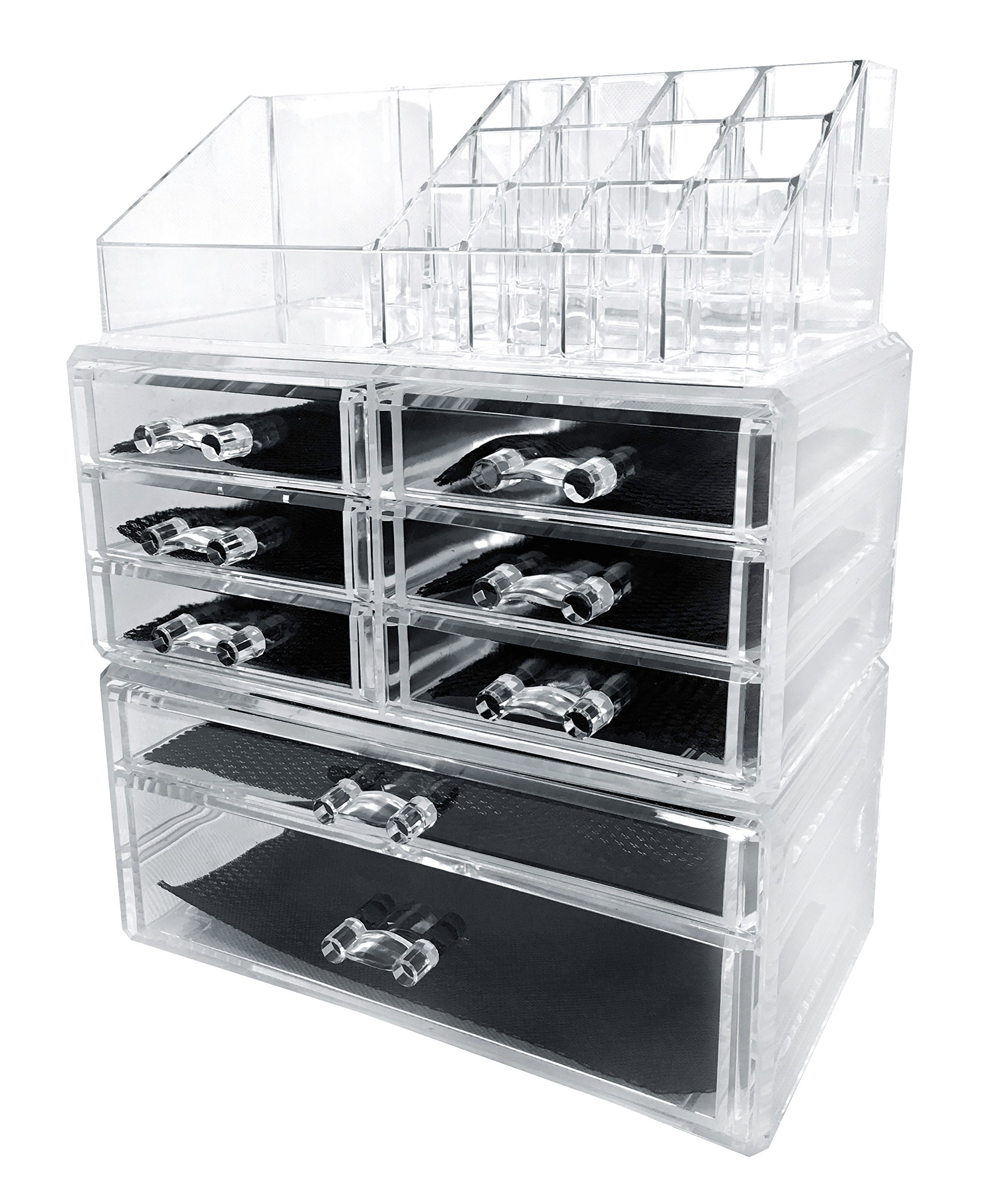 Get Quotations · Sodynee Acrylic Makeup Cosmetic Organizer Storage Drawers Display  Boxes Case, Three Pieces Set